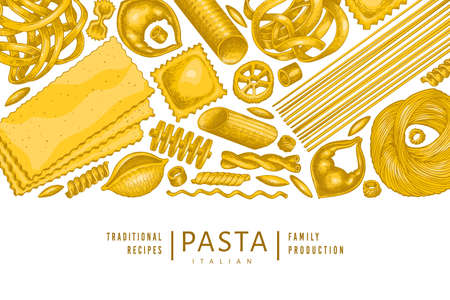 Italian pasta design template. Hand drawn  food illustration.