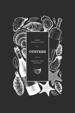 Oysters and wine design template. Hand drawn vector illustration on chalk board. Seafood banner. Can be used for design menu, packaging, recipes, label, fish market, seafood products.  イラスト・ベクター素材