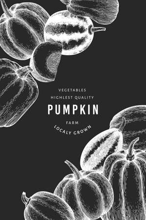 Pumpkin design template. Vector hand drawn illustrations on chalk board. Thanksgiving backdrop in retro style with pumpkin harvest. Autumn background.