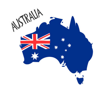 Vector hand drawn stylized map of Australia with flag. Travel illustration of Commonwealth of Australia shape. South map element