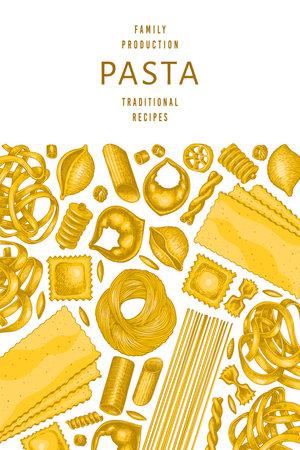 Italian pasta design template. Hand drawn vector food illustration. Vintage pasta different kinds background. Standard-Bild - 161767301