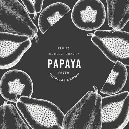 Hand drawn sketch style papaya banner. Organic fresh fruit vector illustration on chalk board. Retro fruit design template