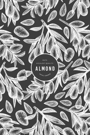 Hand drawn sketch almond design template. Organic food vector illustration on chalk board. Vintage nut illustration. Engraved style botanical background.  イラスト・ベクター素材