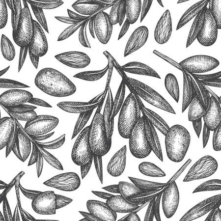 Hand drawn sketch almond seamless pattern. Organic food vector illustration on white background. Vintage nut illustration. Engraved style botanical background.