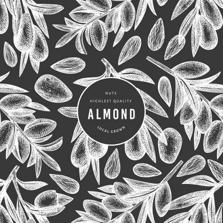 Hand drawn sketch almond design template. Organic food vector illustration on chalk board. Vintage nut illustration. Engraved style botanical background. Ilustrace