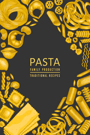 Italian pasta design template. Hand drawn vector food illustration. Vintage pasta different kinds background. Ilustrace