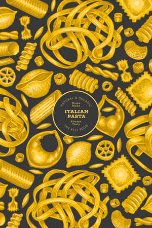 Italian pasta design template. Hand drawn vector food illustration. Vintage pasta different kinds background. 矢量图像