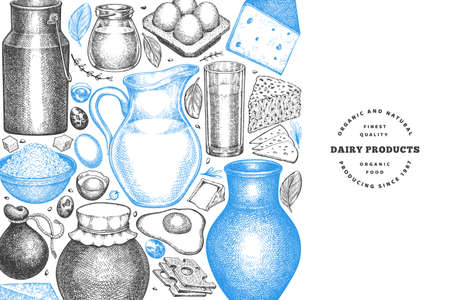 Farm food design template. Hand drawn vector dairy illustration. Engraved style different milk products and eggs banner. Retro food background.