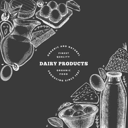 Farm food design template. Hand drawn vector dairy illustration on chalk board. Engraved style different milk products and eggs banner. Retro food background. 矢量图像