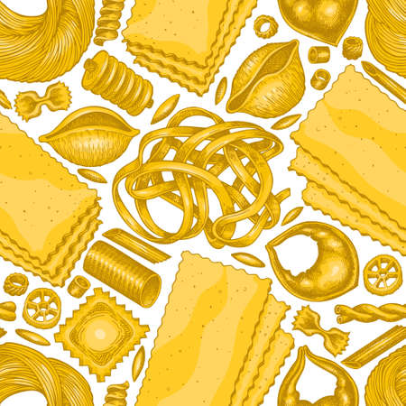 Italian pasta seamless pattern. Hand drawn vector food illustration. Vintage pasta different kinds background.