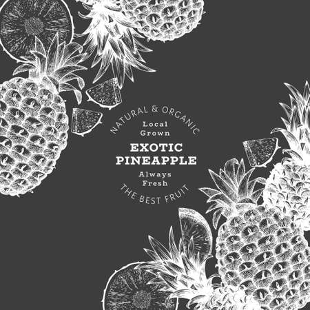 Hand drawn sketch style pineapple banner. Organic fresh fruit vector illustration on chalk board. Botanical design template. 矢量图像