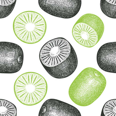 Hand drawn sketch style kiwi seamless pattern. Organic fresh fruit vector illustration. Retro kiwi fruit background