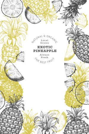 Hand drawn sketch style pineapple banner. Organic fresh fruit vector illustration. Engraved style botanical design template. 矢量图像
