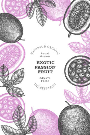 Hand drawn sketch style passion fruit banner. Organic fresh fruit vector illustration. Retro exotic fruit design template 矢量图像