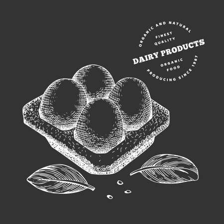Hand drawn sketch style eggs in container. Organic fresh food vector illustration isolated on chalk board. Retro dairy product illustration. 免版税图像 - 166668079