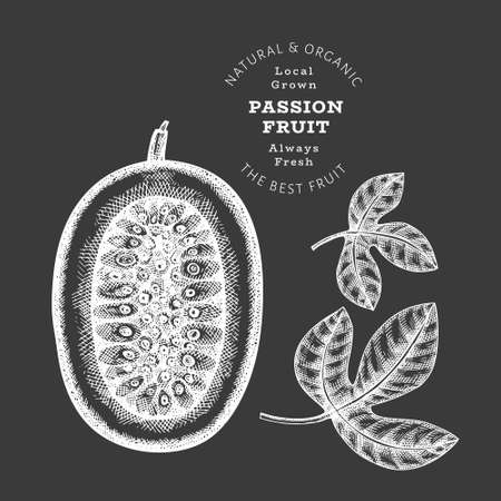 Hand drawn sketch style passion fruit. Organic fresh food vector illustration isolated on chalk board. Retro exotic fruit illustration. Engraved style botanical picture.