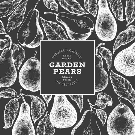 Pear design template. Hand drawn vector garden fruit illustration on chalk board. Retro botanical banner. 免版税图像 - 167018706