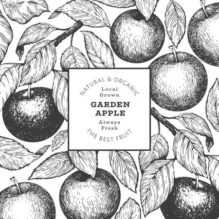 Apple branch design template. Hand drawn vector garden fruit illustration. Engraved style fruit retro botanical banner. 免版税图像 - 167019266