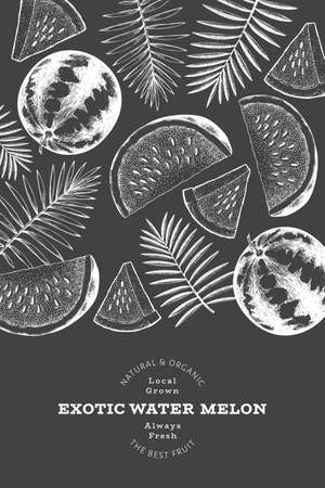 Watermelon and tropical leaves design template. Hand drawn vector exotic fruit illustration on chalk board. Retro style fruit frame. Vecteurs