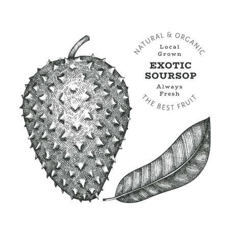 Hand drawn sketch style soursop. Organic fresh food vector illustration isolated on white background. Retro exotic fruit illustration. Engraved botanical style guanabana.