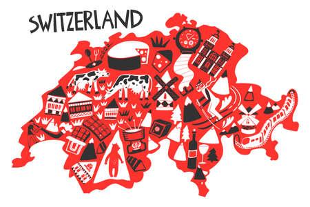 Vector hand drawn stylized map of Switzerland landmarks. Travel illustration. Geography illustration. Europe map element