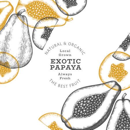 Hand drawn sketch style papaya banner. Organic fresh fruit vector illustration. Retro fruit design template 矢量图像