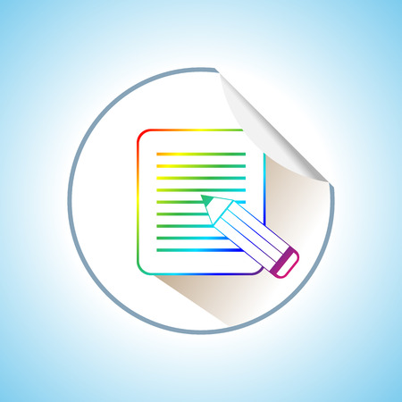 Illustration of Pencil with Paper Page. Flat Icon Isolated Vector