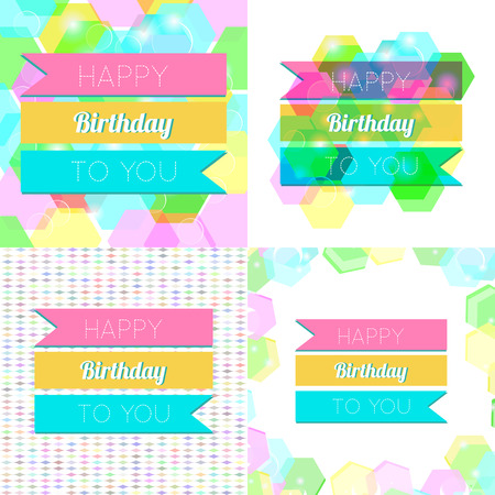 Set of Happy Birthday Greeting Cards.Vector Illustrations Vector
