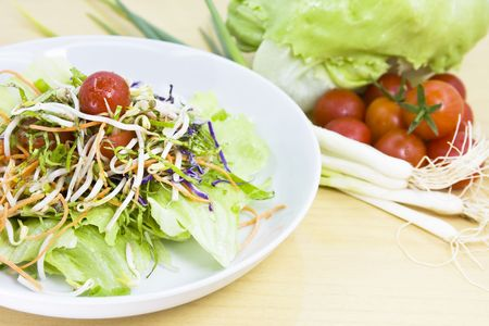 Organic Salad with fresh vegetables photo