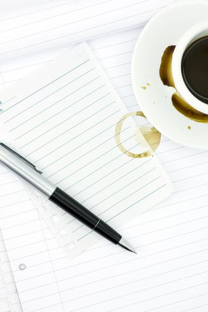 Notebook, pen and cup of coffee Stock Photo - 5163600