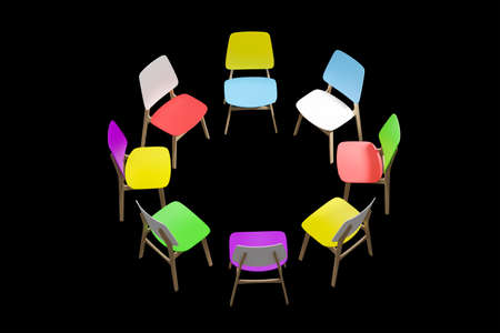 Colorful chairs stand in a circle on a black background.