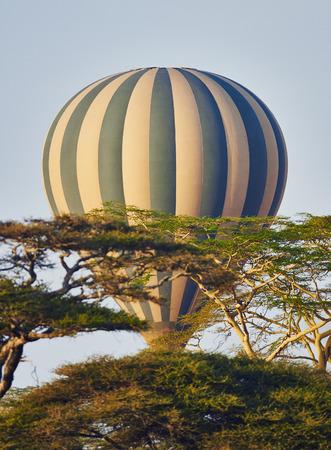 hot air balloon flying in Serengeti National Park
