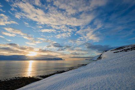 Beautiful seascape in Iceland. Winter sunrise with beautiful lights.