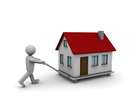 removal: One 3d man that carry a house with a trolley Stock Photo