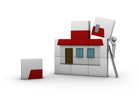 sell house: One 3d man who builds a new house Stock Photo