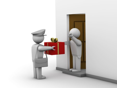 delivers: A postman delivers a gift bag