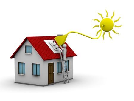 sol caricatura: hombre que se instala un sistema de energ�a solar en una casa