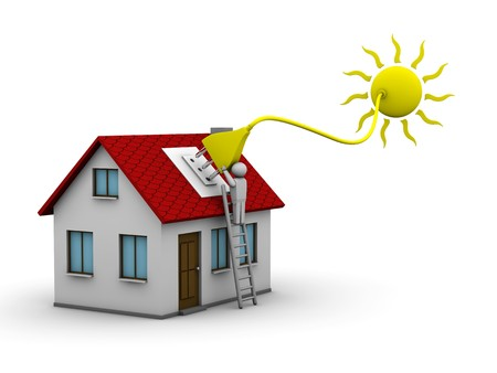 energy work: man who installs a solar energy system on a house