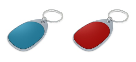 keychains: Set of two keychains of different colors with blank space