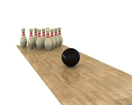 toward: Ball rolling toward the pins Stock Photo