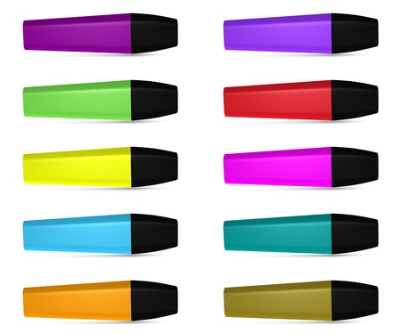 Set of ten highlighters of different colors with blank space for general purpose Stock Photo - 8827203