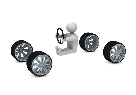 One 3d render of four wheels and a man with a steering wheel Stock Photo - 8919123