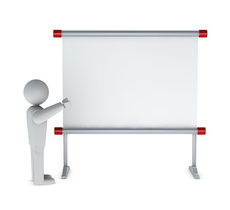 whiteboard: One 3d man pointing to a whiteboard Stock Photo