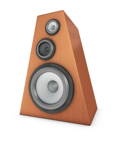 one 3d render of a wooden speaker box photo
