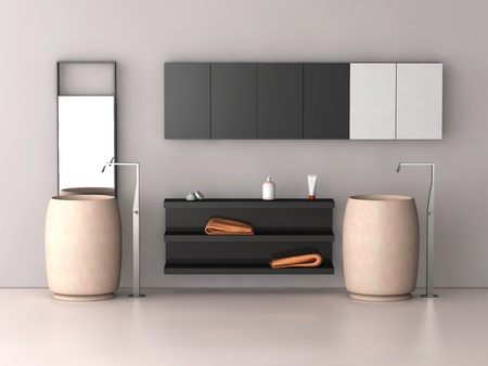 bath room: one 3d render of a modern bath