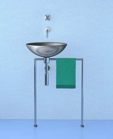 one 3d render of a modern sink Stock Photo - 9035383