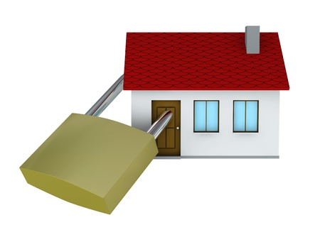 One 3d render of a house with a padlock Stock Photo - 9142690