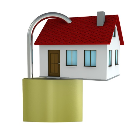 One 3d render of a house with a padlock Stock Photo - 9142691