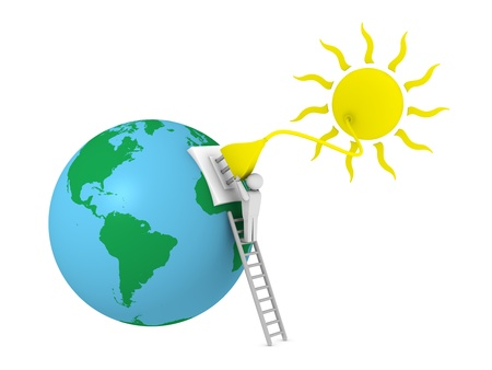 plugs: sun with a plug that supplies power to the earth planet