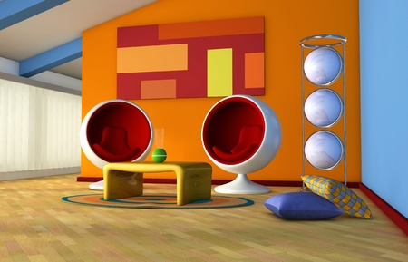 mansard: One 3d render of an attic living room with 70 furnitures Stock Photo